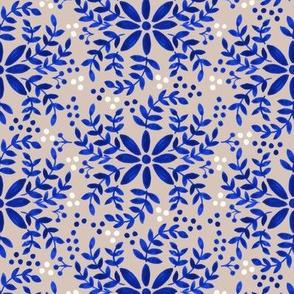 Floral motif-taupe _ blue