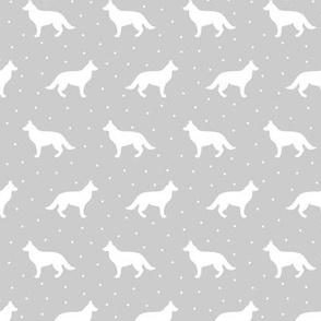 German Shepherd Grey Dots