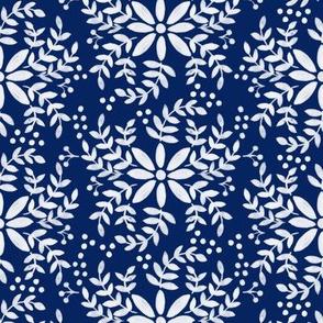 Floral motif-blue _ white
