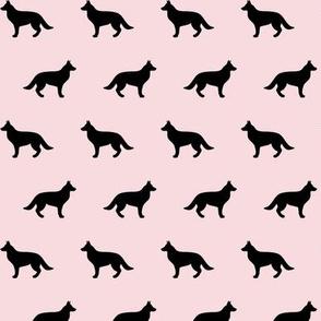 German Shepherd Black on Pink