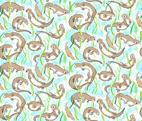 watercolor otters fabric by vinpauld on Spoonflower - custom fabric