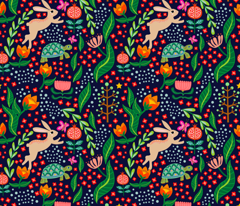 Hare and Tortoise Night_Spoonflower fabric by mabletandesigns on Spoonflower - custom fabric