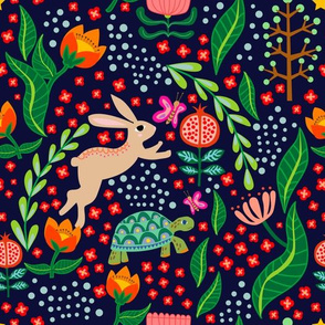 Hare and Tortoise Night_Spoonflower