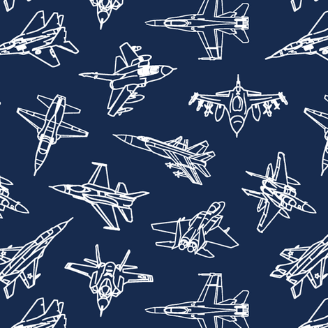 Jets on Navy // Small fabric by thinlinetextiles on Spoonflower - custom fabric