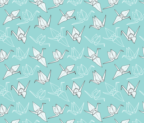 Origami Cranes - Seafoam fabric by veronikanagydesigns on Spoonflower - custom fabric
