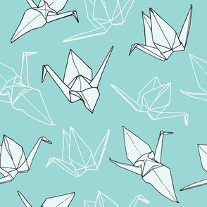 Origami Cranes - Seafoam