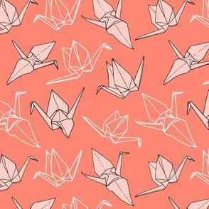 Origami Cranes (small) - Coral