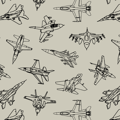Jets on Light Taupe // Small fabric by thinlinetextiles on Spoonflower - custom fabric