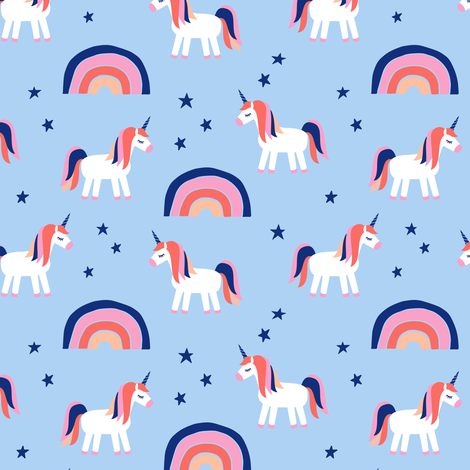 (small scale) unicorn dreams on blue  fabric by littlearrowdesign on Spoonflower - custom fabric