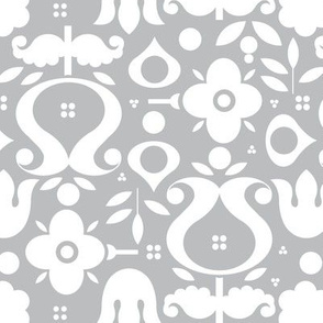 White Scandi flowers on Grey Large