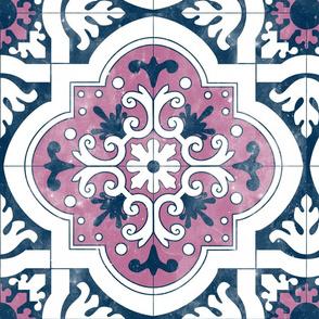 """17"""" Purple Navy Spanish Tile"""