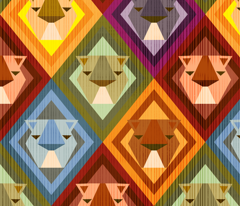 Kilim Lions fabric by pinky_wittingslow on Spoonflower - custom fabric