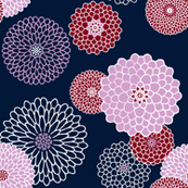 Orchid & Navy Chrysanthemums