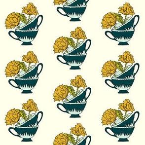 Teacups and Flowers_ochre_teal