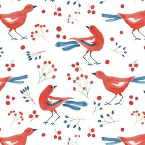 Red birds and berries