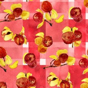 bittersweet berries watercolor on madras plaid