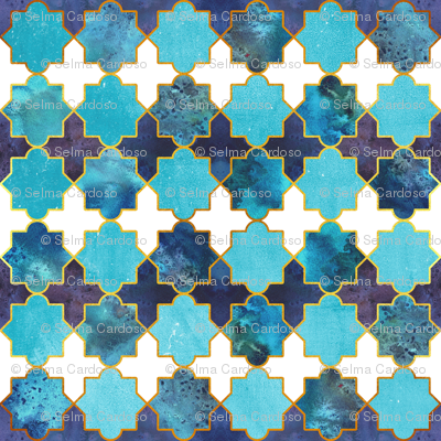 Moroccan tiles inspiration // turquoise blue golden lines