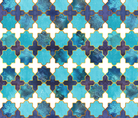 Moroccan tiles inspiration // turquoise blue golden lines fabric by selmacardoso on Spoonflower - custom fabric