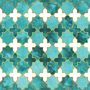 Moroccan tiles inspiration // green teal golden lines