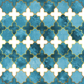 Moroccan tiles inspiration // blue golden lines