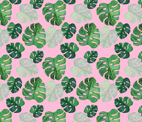 Monstera Watercolour on pink medium fabric by sylviaoh on Spoonflower - custom fabric