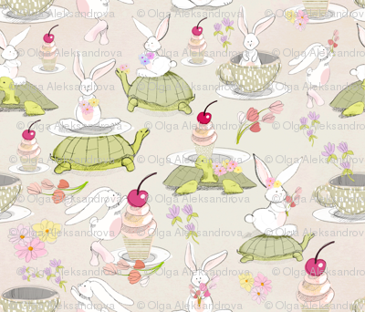 sketch turtle und rabbit