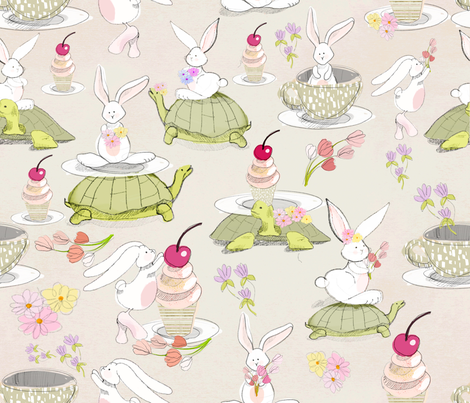 sketch turtle und rabbit fabric by holaholga on Spoonflower - custom fabric