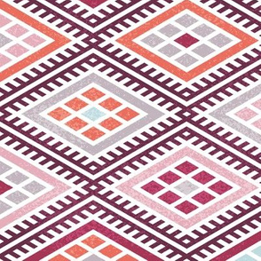 moroccon kilim bordeaux orange rose