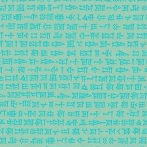 cuneiform writing - bright aqua on sea-green