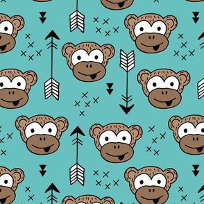 Little monkey friends inky arrows geometric animals design blue boys