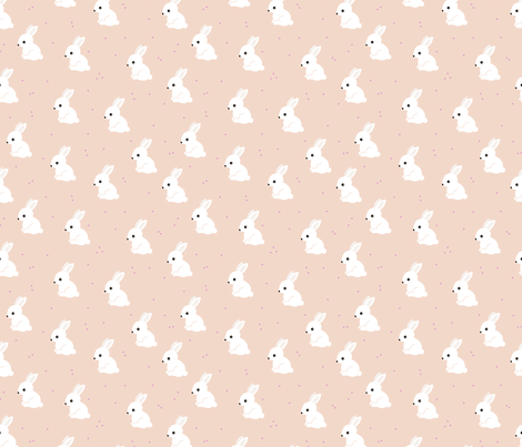 Sweet white bunny confetti easter party spring summer design for kids pastel peach fabric by littlesmilemakers on Spoonflower - custom fabric
