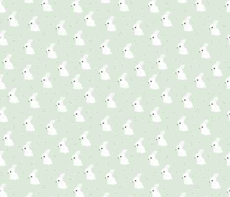 Sweet bunny confetti easter party spring summer design for kids mint fabric by littlesmilemakers on Spoonflower - custom fabric
