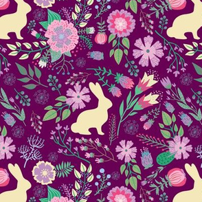 Easter Bunnies on Raspberry Spring Floral