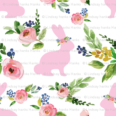 """Pink Small Bunnies Spring Floral 1.25"""""""