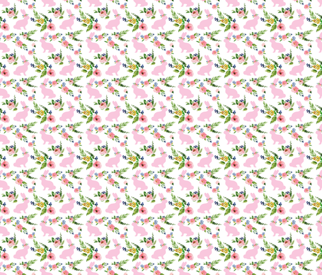 """Pink Small Bunnies Spring Floral 1.25"""" fabric by twodreamsshop on Spoonflower - custom fabric"""