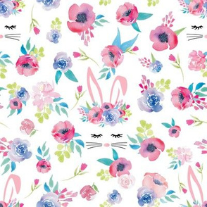 Easter Bunny Face Spring Floral Easter Rabbit