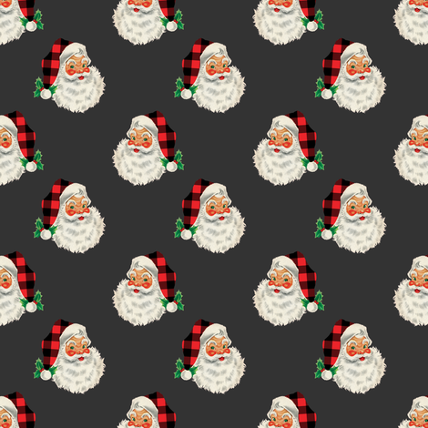 "1.3"" SMALL Buffalo Plaid Santa on Charcoal fabric by twodreamsshop on Spoonflower - custom fabric"
