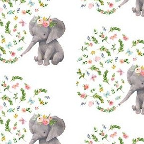 "4""Floral Baby Elephant Version 3"