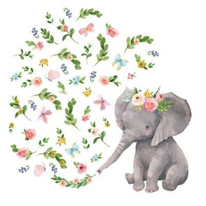 "8"" Floral Baby Elephant Version 3"