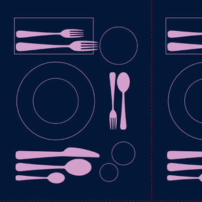 placemat formal dinner setting_orchid on navy