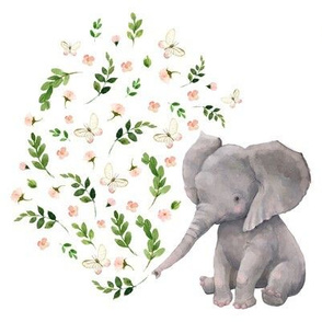 "8"" FLORAL BABY ELEPHANT VERSION 2"
