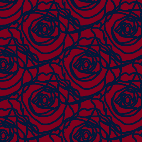 Scribbled Roses (#031838 on wine) fabric by anniedeb on Spoonflower - custom fabric