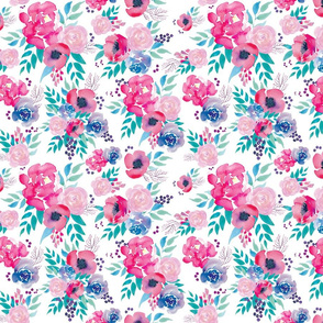 Pink and Teal Boho Floral Bright Watercolor Floral