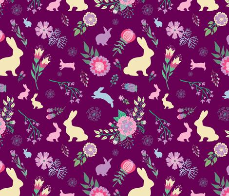 Easter Bunnies on Purple Wine Spring Floral  fabric by twodreamsshop on Spoonflower - custom fabric