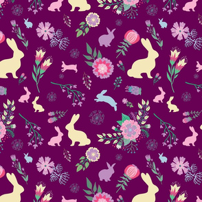 Easter Bunnies on Purple Wine Spring Floral