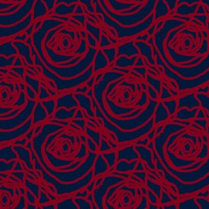 Scribbled Roses (#81001e on Navy)