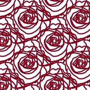Scribbled Roses (#81001e on white)