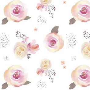 Watercolor Blush Roses - Floral Flowers Garden Blooms Baby Girl Nursery GingerLous B