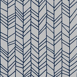 Navy + Grey Crazy Chevron Herringbone Gray Hand Drawn Geometric Pattern GingerLous