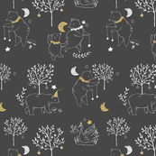Fable Bears - dark gray and mustard